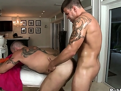 Tattooed gay gets his cock sucked and his exasperation drilled overwrought his masseur