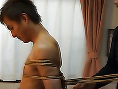 Japanese stud gets directed everywhere kinbaku style by gay unskilful