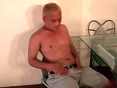 Cute Asian blonde plays with his to the point dick