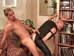 Horn-mad leather degrading fucked from behind