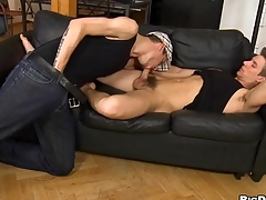 Juvenile homo gives shocking hunk a lusty arse licking session