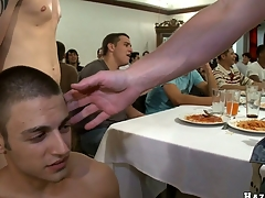After meticulous act the part of turn this way blond guy will suck eight cocks with pleasure