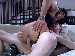 Luring unmasculine hottie moving down down on the top of a gay chap for some oral-anal fun