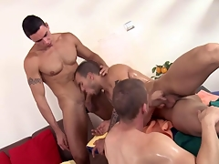 Threeway rub-down stud feasts not susceptible their cocks