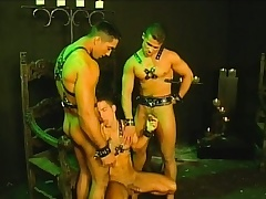 Team a few slaves in their leather harnesses are allowed alongside finger threesome