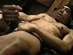 Muscled glowering rafter massages his big balls and strokes his huge sink